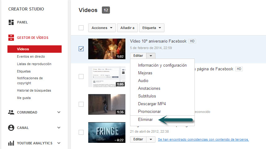 Como eliminar video YouTube